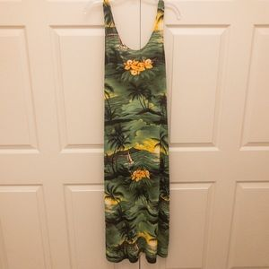 Tropical Print Sheer Maxi Dress